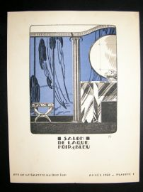 Gazette du Bon Ton 1921 Art Deco Design Litho. Salon De laque Noir & Bleu